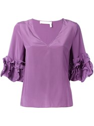 See By Chloe Frilled Sleeve Top Pink Purple