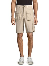 Versace Solid Cotton Shorts Beige