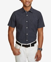 Nautica Men's Big And Tall Classic Fit Check Short Sleeve Shirt Maritime Navy
