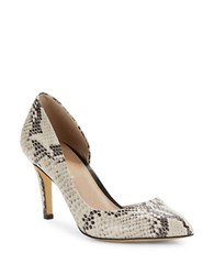 424 Fifth Nyla Embossed Leather Dorsay Pumps Cream