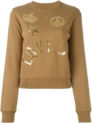 Love Moschino Sequined Patch Sweatshirt Nude And Neutrals
