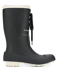 Undercover Lace Up Rubber Boots Black