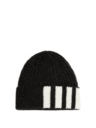 57852d1c793 Thom Browne Striped Ribbed Knit Cashmere Beanie Grey