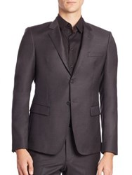 Emporio Armani Button Front Wool Suit Jacket Iron Black