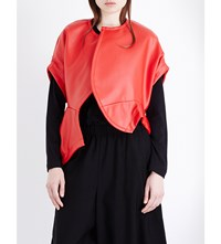 Comme Des Garcons Asymmetric Sleeveless Faux Leather Jacket Red