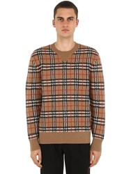Burberry Checked Cashmere Knit Sweater Camel