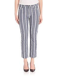 7 For All Mankind Striped Straight Ankle Pants Indigo Stripe