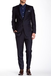 Ben Sherman Kings Fit Navy Solid Peak Lapel Two Button Wool Suit Blue