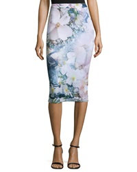 Ted Baker Sinda Tile Floral Print Midi Pencil Skirt Navy