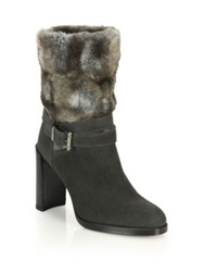 Stuart Weitzman Furstup Suede And Faux Fur Boots Grey