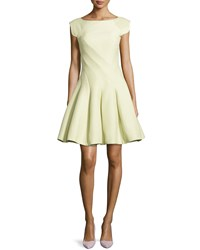 Halston Cap Sleeve Fit And Flare Dress Green