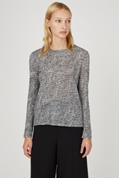 Proenza Schouler Printed Tissue Long Sleeve Jersey Tee Off White Black