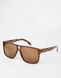 Asos Flatbrow Sunglasses In Tort With Cut Out Nose Detail Tort Brown