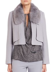 Halston Cropped Fur Collar Knit Jacket