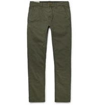 Nudie Jeans Slim Adam Garment Dyed Stretch Organic Cotton Twill Trousers Army Green
