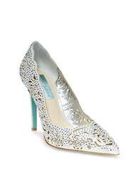 Betsey Johnson Elsa Embellished Fabric Cutout Pumps Silver
