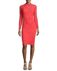 Fuzzi Long Sleeve Crochet Sheath Dress Geranium