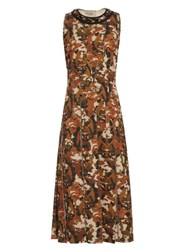 Bottega Veneta Embellished Scuba Jersey Dress Brown Print