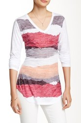 Go Couture Long Sleeve V Neck Burnout Printed Tee Multi