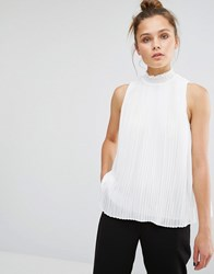 New Look High Neck Pleated Shell Top Cream