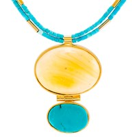 Be Jewelled Amber And Turquoise Statement Necklace Blue Gold