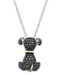 Macy's Black Diamond Dog Pendant Necklace In Sterling Silver And 14K Gold 1 5 Ct. T.W.
