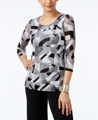 Alfani Printed Tiered Mesh Top Only At Macy's Retro Arch Black
