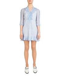 The Kooples Vichy Gingham Ruffle Trim Dress Blue
