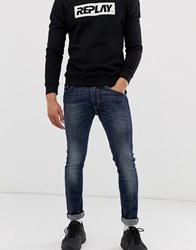 Replay Jondrill Power Stretch Skinny Fit Jeans In Dark Wash Blue