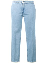 Jour Ne Cropped Jeans With Piping Blue