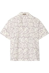 Bottega Veneta Printed Washed Cotton Poplin Shirt Purple