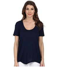 Allen Allen Short Sleeve High Low Scoop Lapis Women's Short Sleeve Pullover Navy