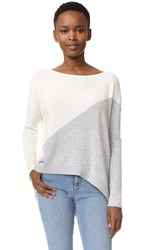 Alice Olivia Abbie Colorblocked High Low Sweater Off White Dove Grey