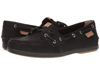 Sperry Coil Ivy Leather Canvas Black Women's Moccasin Shoes