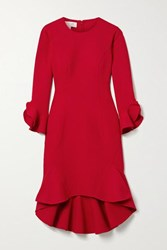 Michael Kors Collection Ruffled Stretch Wool Blend Cady Dress Crimson