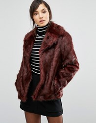 Oasis Boxy Faux Fur Coat Oxblood Purple