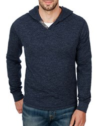 Lucky Brand Lived In Hooded Cotton Henley Navy