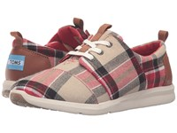 Toms Del Rey Sneaker Red Warm Tan Plaid Women's Lace Up Casual Shoes Multi