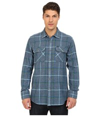 Obey Peak Woven Top Blue Multi Men's Long Sleeve Button Up