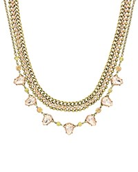 Sparkling Sage Crystal And Teardrop Stone Lined Statement Necklace Compare At 126 Burnished Gold Black