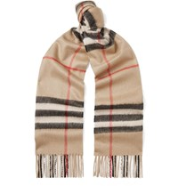 Burberry Fringed Checked Cashmere Scarf Brown