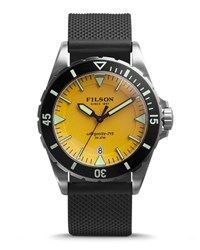 43Mm Dutch Harbor Watch With Rubber Strap Yellow Black Men's Filson
