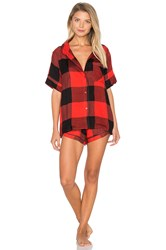 Plush Ultra Soft Buffalo Plaid Pj Set Red