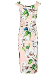 Jolie Moi Retro Floral Print Wiggle Dress Pink