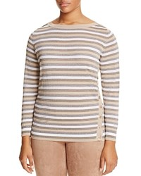 Marina Rinaldi Abigail Metallic Stripe Button Side Sweater Ice Beige