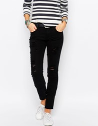 Only Mid Rise Skinny Jeans With Distressing Black