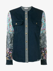 Natasha Zinko Floral Denim Shirt Blue Denim Multi Coloured