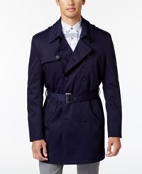 Calvin Klein Men's Slim Fit Double Breasted Belted Raincoat Navy