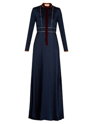 Roksanda Ilincic Mirza Long Sleeved Satin Dress Navy