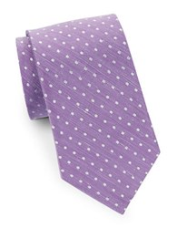 August Silk Dotted And Linen Tie Purple